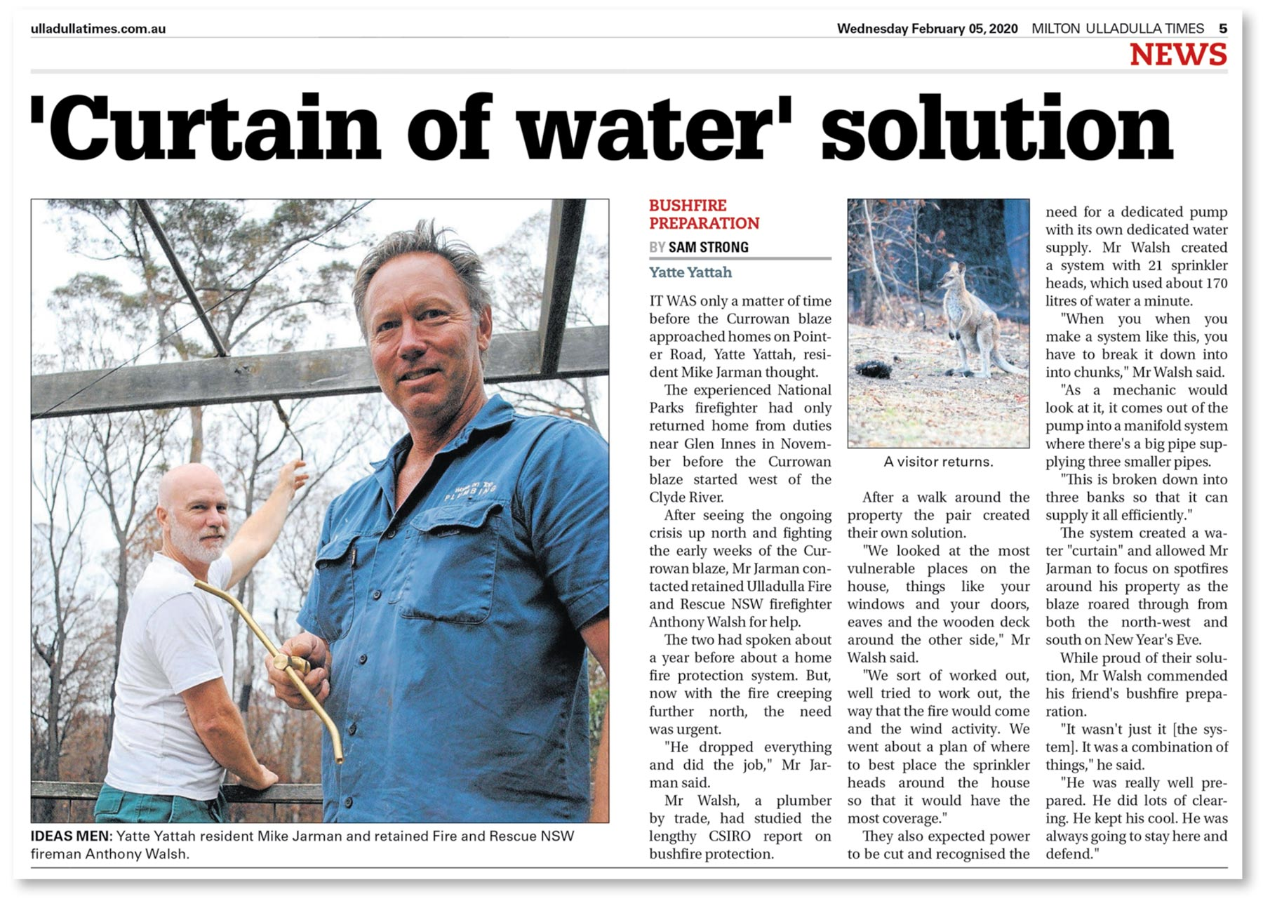 Article from Milton Ulladulla Times, February 5, 2020 about our bushfire sprinkler protection system